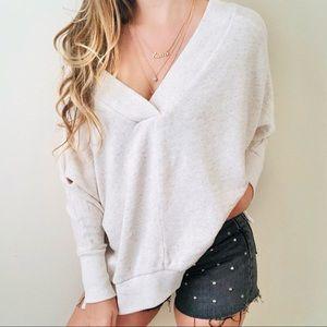 Lou & grey oversized beige Vneck sweater